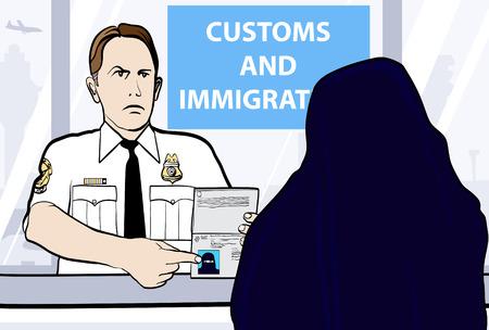 foto carnet: Ilustraci�n conceptual de un control de pasaportes de mujer llevando niqab  Vectores