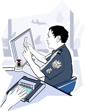 customs official: illustration of passport check control at the airport Illustration