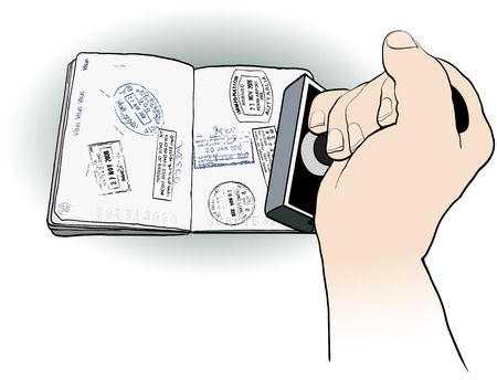 authorization: illustration of an officer stamping a passport Illustration