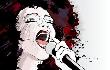 eine Afro US-amerikanische Jazzsängerin auf Grunge hintergrund illustration