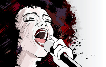 singer with microphone: illustration of an afro american jazz singer on grunge background