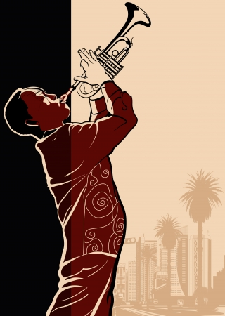jazz: a trumpet player Illustration