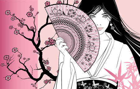 red fan: a geisha on a pink floral background