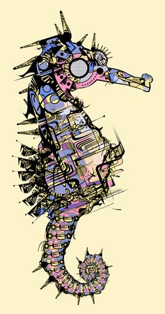 Vector illustration of a stylised seahorse drawing Stock Vector - 7945192