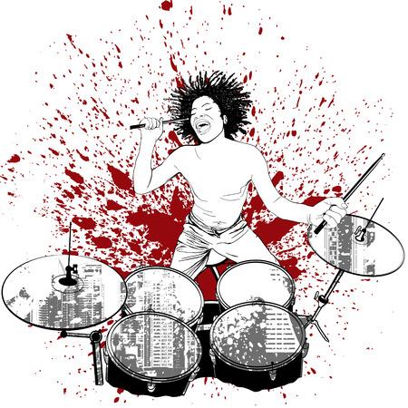 illustration of a drummer on grunge background