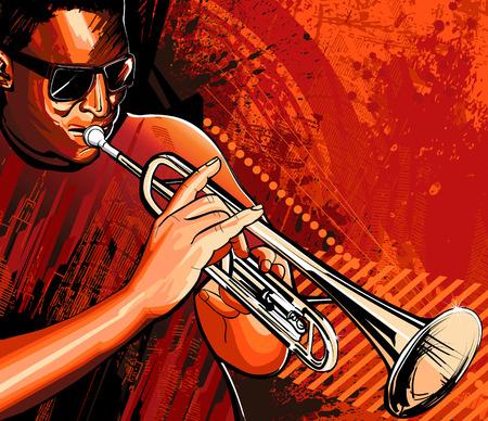 trompette: illustration d'un joueur de trompette