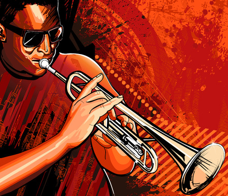 jazz: illustration of a trumpet player Illustration