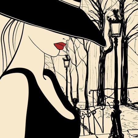 montmartre: Vector representation of a woman in Paris Montmartre