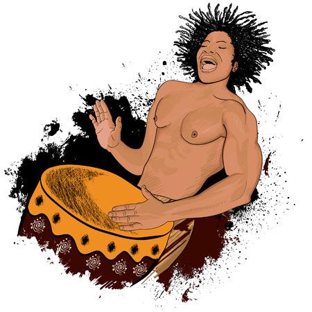hit man: Vector illustration of an african drummer