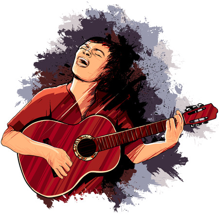 playing the guitar: Vector illustration of a singer playing guitar