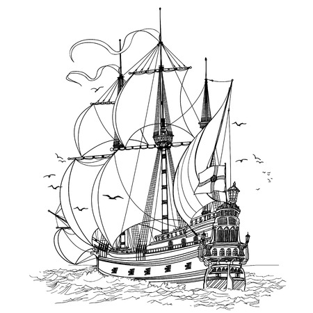 galleon: vector illustration of an old sailing boat