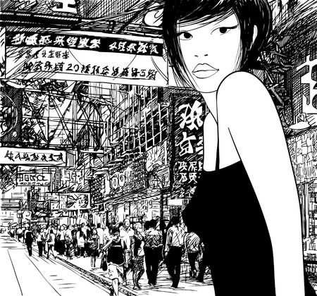 hong kong city: Hand drawing of a chinese girl in Hong Kong (vector) (all the signs are fictitious)