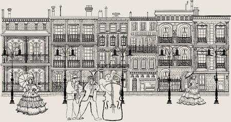 tenore: Grafica vettoriale di fantasiosa che rappresenta una strada in stile new orleans con il musicista jazz e le donne in abito crinoline
