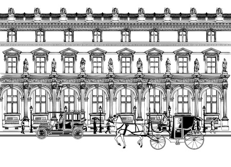 old building facade: Vector imaginative artwork representing a street in Paris with horse carriage and old car Illustration