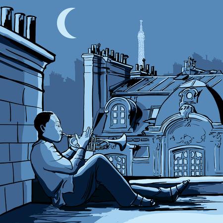 パリの屋根の上のトランペット奏者のベクトル イラスト