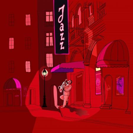 Illustrazione vettoriale del sassofonista in una strada di notte
