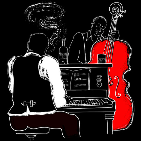 jazz men: illustration of a Jazz piano and double-bass Illustration