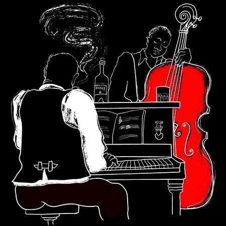 Ilustracja Jazz pianino i kontrabas