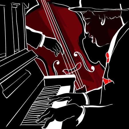 ジャズ ・ ピアノおよびコントラバスのイラスト  イラスト・ベクター素材