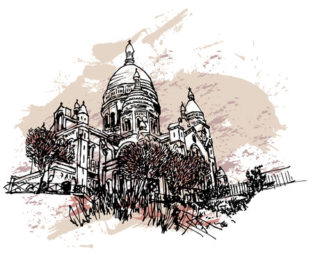 coeur: Europe Paris Sacre Coeur Basilica under snow Illustration