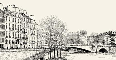 seine: Vector afbeelding van een weergave van Pont St Louis op de rivier de Seine en de Pont de la Tournelle