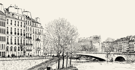 river vector: Vector illustration of a view from Pont St Louis on Seine River and Pont de la Tournelle
