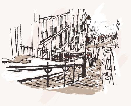 montmartre: Vector illustration d'une vue de Montmartre � Paris sous la neige