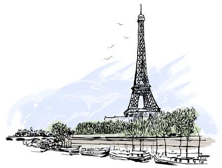 ilustracion: Ilustraci�n vectorial de la Torre Eiffel de Par�s
