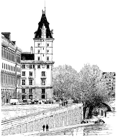seine: Vector illustration of a view from Pont Neuf bridge in Paris