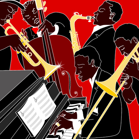 orquesta: Ilustraci�n vectorial de una banda de jazz Vectores