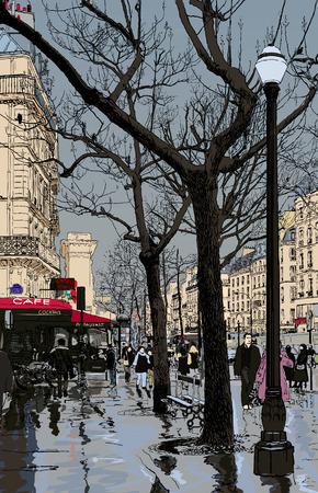 雨の下でパリの通りのベクトル イラスト