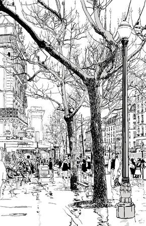 雨の下でパリの通りのベクトル イラスト 写真素材 - 8664884