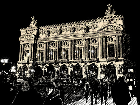 opera in Paris at night Vector