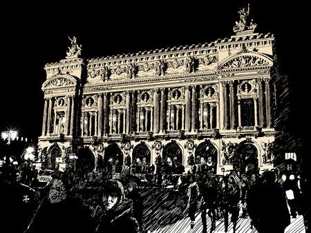 Opera in Paris in der Nacht Vektorgrafik