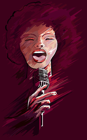 an afro american jazz singer Stock Vector - 8760391