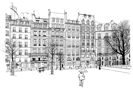 ile de la cite: France - Paris - Place Dauphine illustration