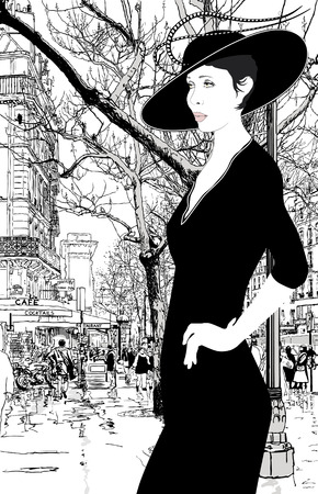 illustration of an elegant lady in Paris Vector