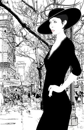 illustration of an elegant lady in Paris Stock Vector - 8921491