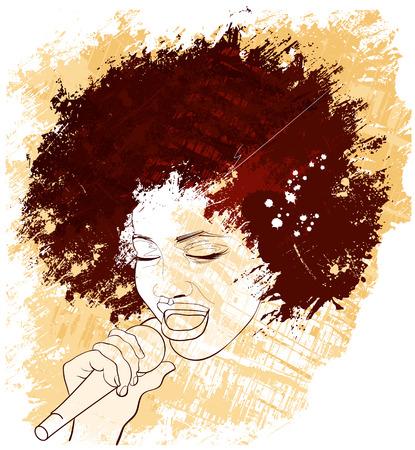 グランジ背景にアフロ アメリカのジャズ歌手のイラスト  イラスト・ベクター素材