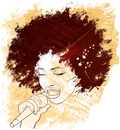 karaoke: illustration of an afro american jazz singer on grunge background Illustration