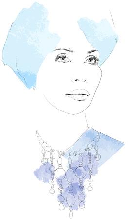 illustration of an watercolor beauty portrait Vector