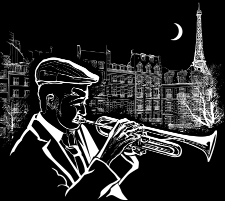 jazz: Vector illustration of a trumpeter on  Paris grunge background Illustration