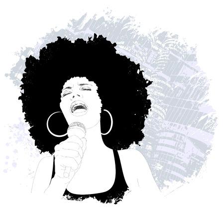 アフロアメリカン: グランジ背景にアフロ アメリカのジャズ歌手のベクトル イラスト