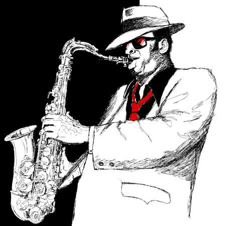 soprano saxophone: Ilustraci�n vectorial de un saxofonista sobre un fondo blanco y negro Vectores