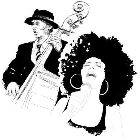 pop musician: Vector illustration of an afro american jazz singer and a double-bass player