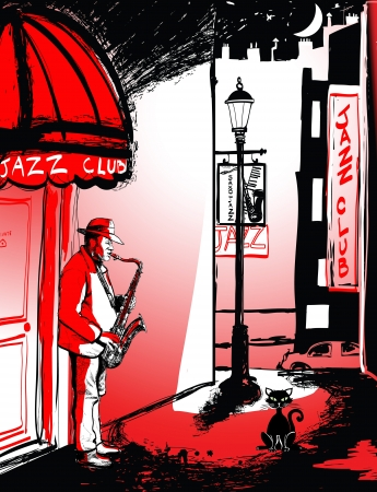 blues music: Vector illustration of saxophone player in a street at night