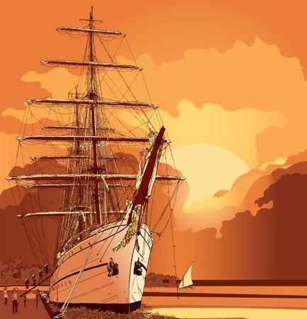 sails: a sailing boat at sunset