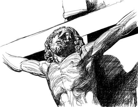 christ: Vector illustration of a Christ s face (ink drawing) Illustration