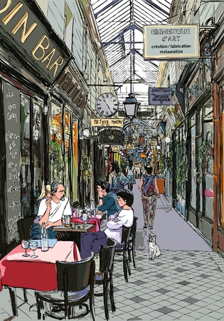 an old passage in Paris Stock Vector - 9397331