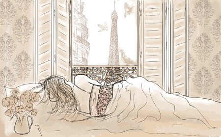 mujer acostada en cama: Mujer durmiendo en Par�s Vectores